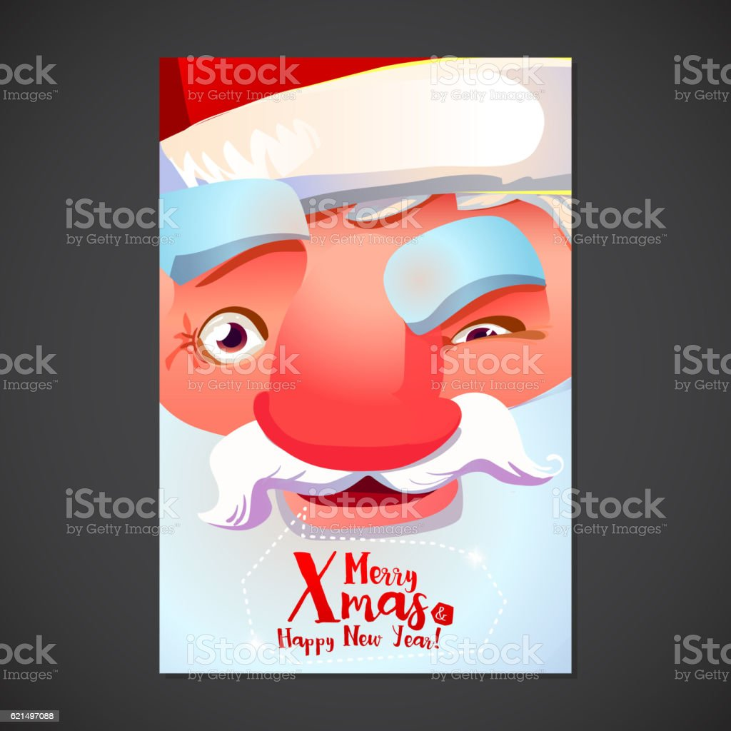 Cute Santa face poster cute santa face poster – cliparts vectoriels et plus d'images de barbe libre de droits