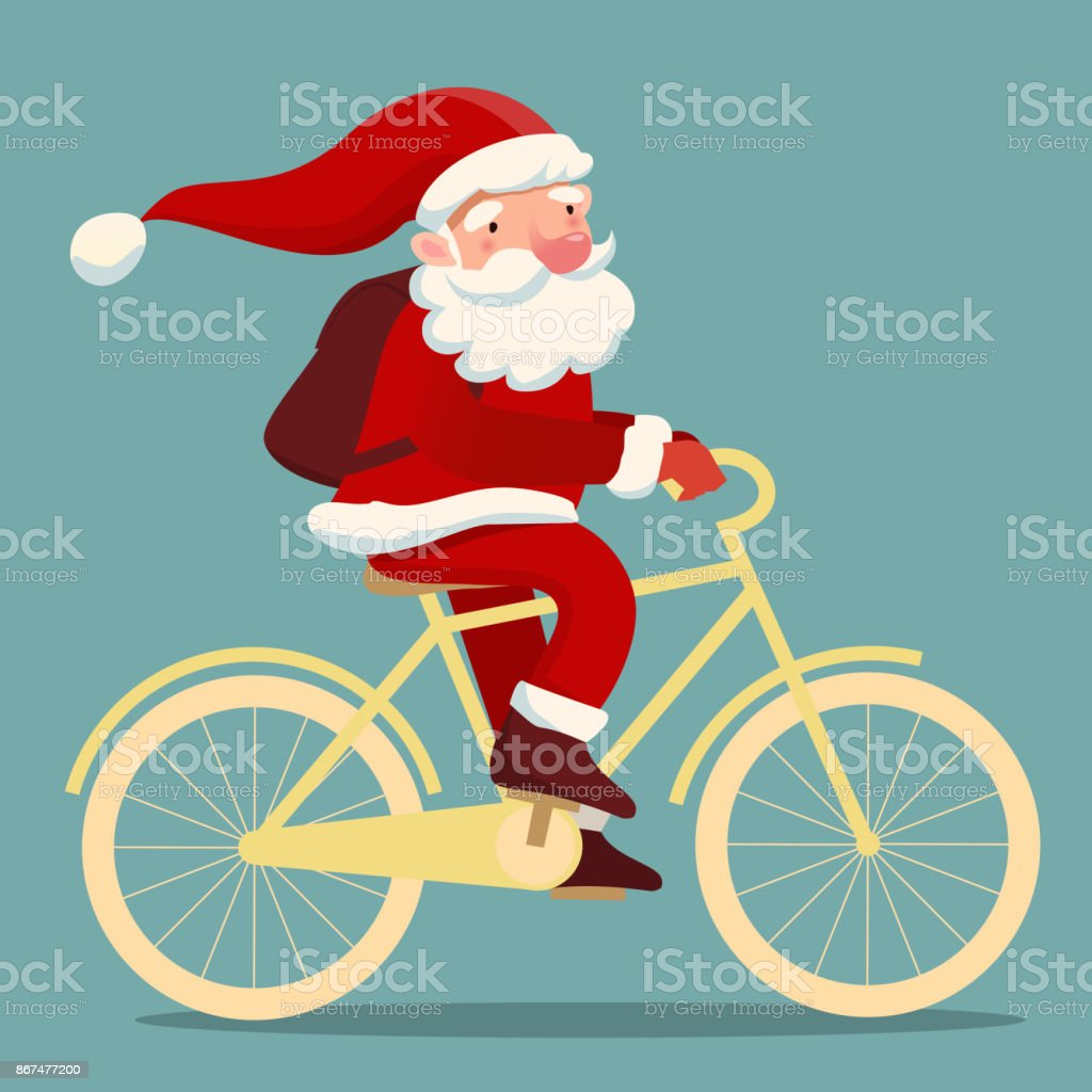 niedliche Santa auf dem Fahrrad – Vektorgrafik