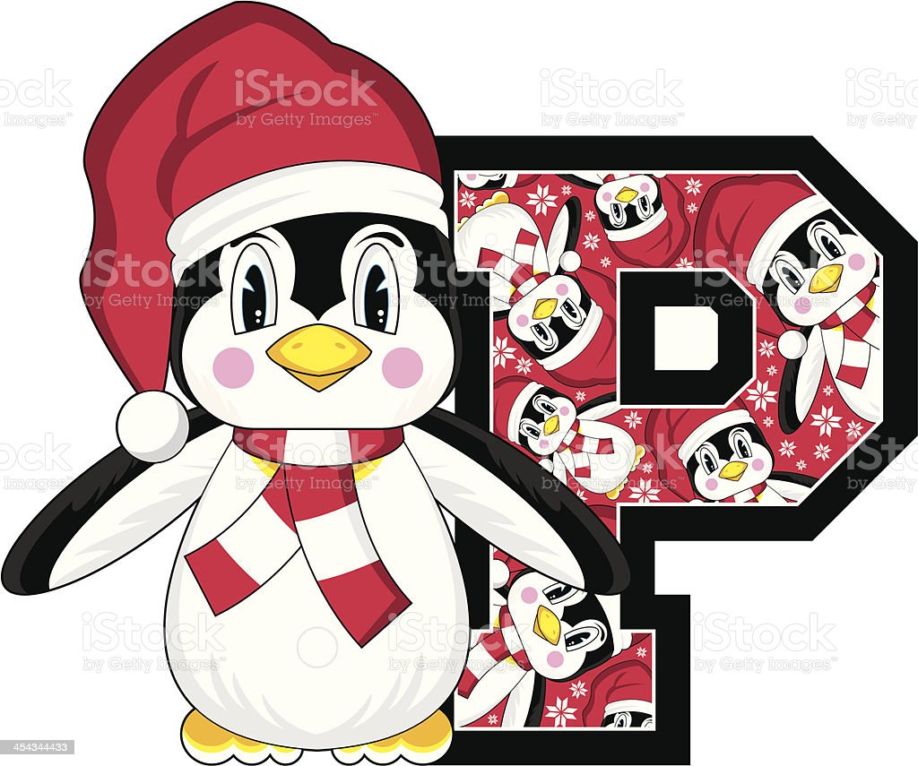 Cute Santa Penguin Learning Letter P royalty-free cute santa penguin learning letter p stock vector art & more images of alphabet