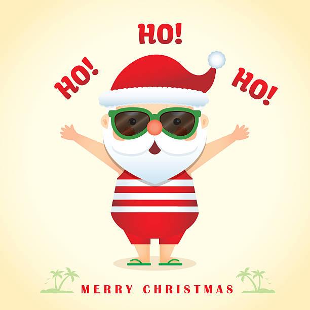 cute santa - summer 2 - old man sunglasses stock illustrations, clip art, cartoons, & icons