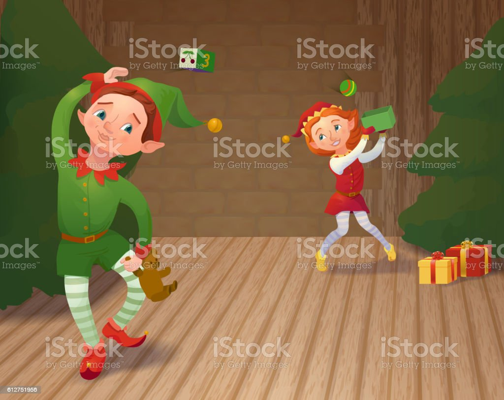 Cute santa's elves playing and packing christmas gifts. Xmas car - Illustration vectorielle