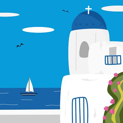cute Santorini vector illustration background