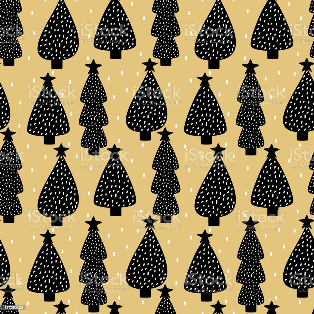 cute scandinavian seamless vector pattern background illustration with abstract christmas tree vector art illustration