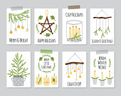 Cute Scandinavian set of vintage Christmas and New Year cards with decorative elements as Christmas tree, candles, mason jars, wall garlands and wooden stars for your decoration