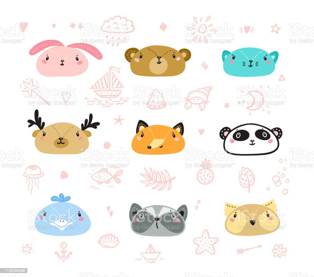Cute Scandinavian Style Animal Faces Set. Doodle Cartoon Animals and...