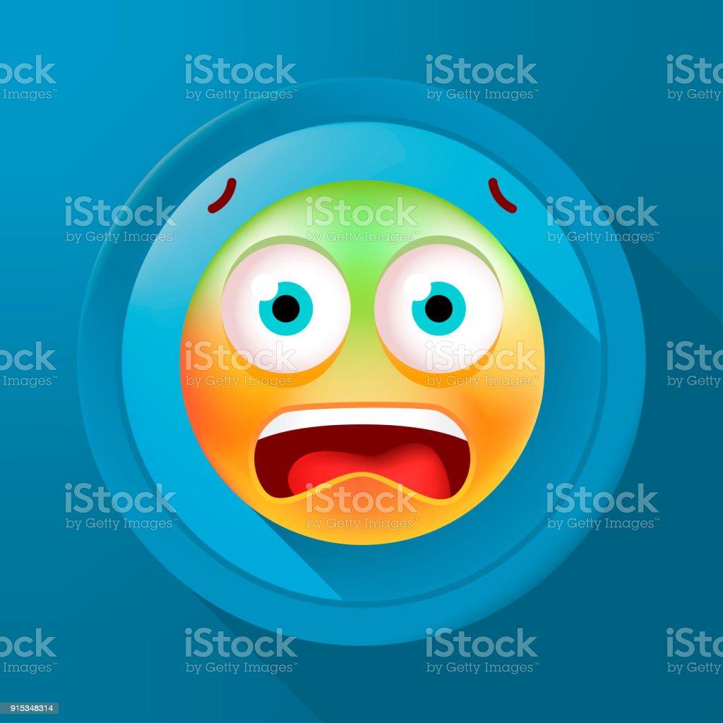 Mignon Emoticon peur sur la touche de couleur sur fond de couleur. Illustration vectorielle isolé - Illustration vectorielle