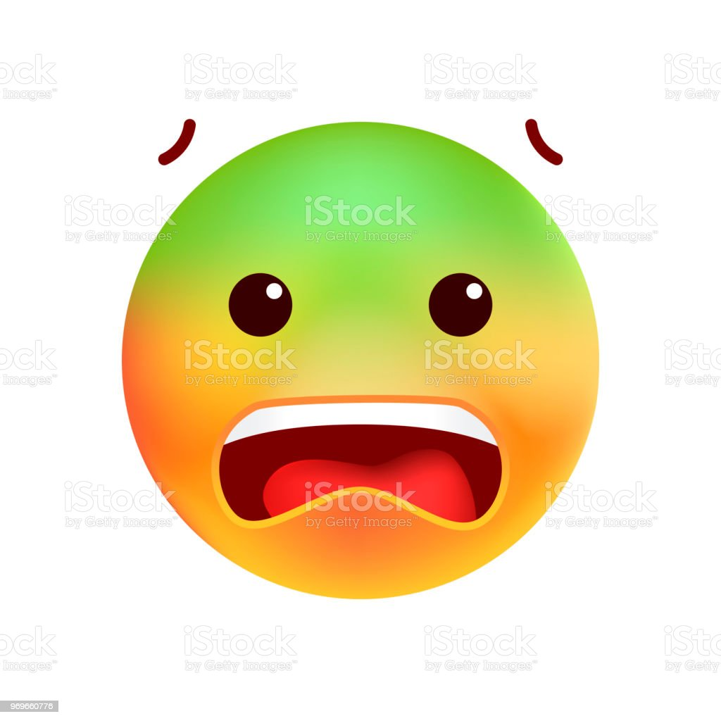 Cute Scared Emoticon on White Background . Isolated Vector Illustration vector art illustration