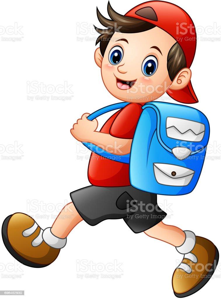 Cute school boy cartoon going to school vector art illustration