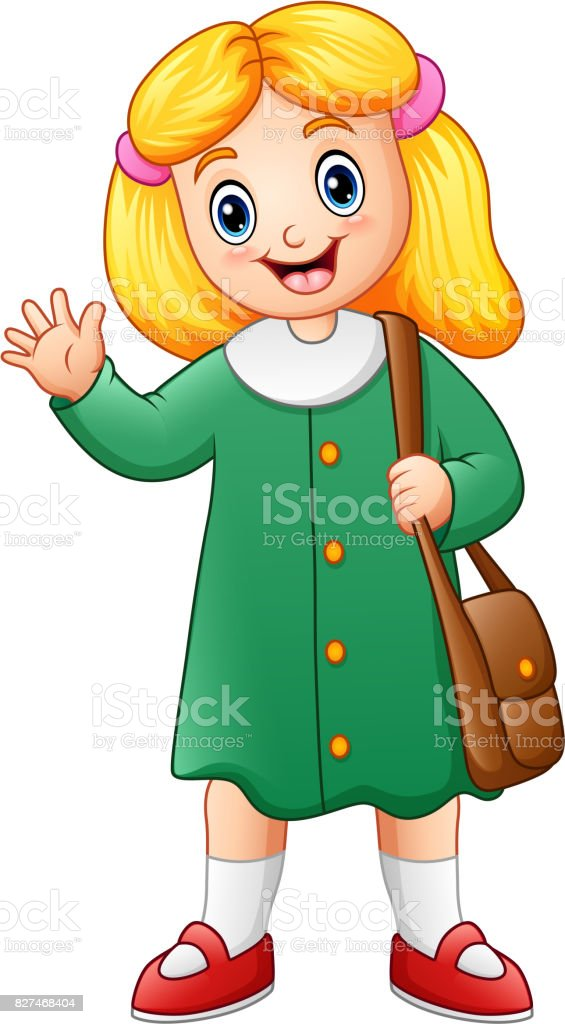 Cute school girl cartoon vector art illustration