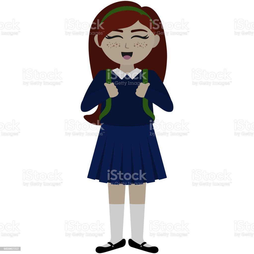制服イラストのかわいい学校の女の子 1人のベクターアート素材や画像を