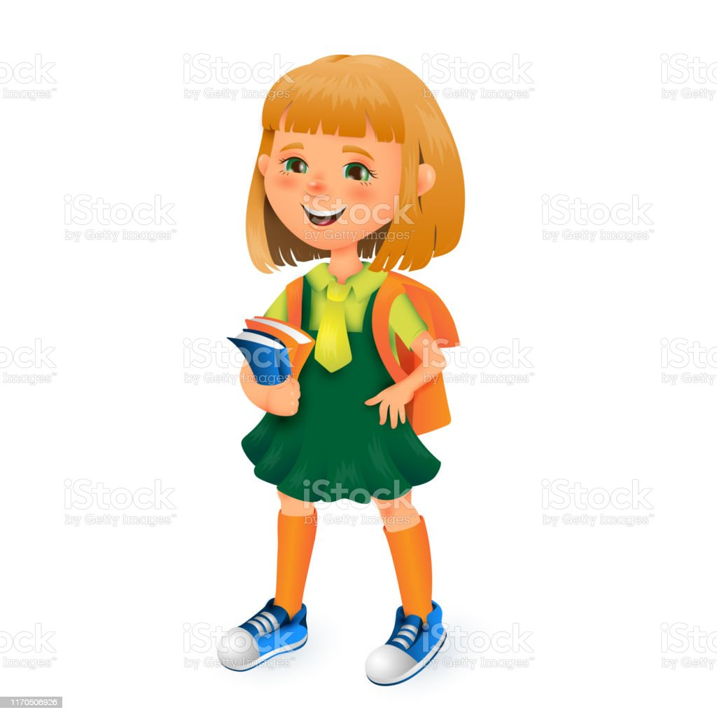 Cute School Girl With Bag And Books In Hands Vector 3d Cartoon Illustration Isolated On White Background For Poster Banner Logo Cheerful Kid Young Lady Learning In School For Education Materials Stock