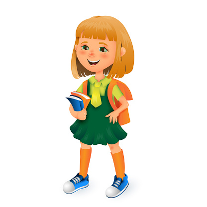 Cute School Girl With Bag And Books In Hands Vector 3d Cartoon Illustration Isolated On White