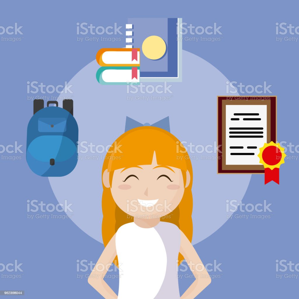 Cute School Girl With Utensils Stock Vector Art   More Images of ... 831cb5e2c3e6d
