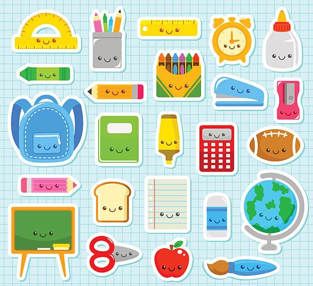 cute school items vector art illustration