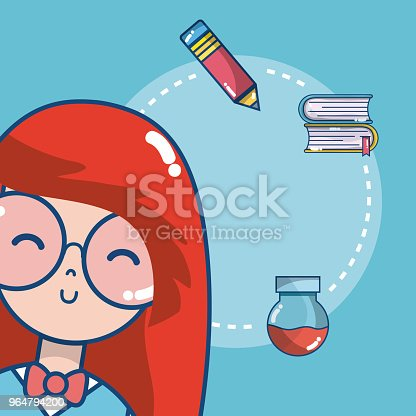 Cute School Student Girl Stock Vector Art & More Images of Art 964794200