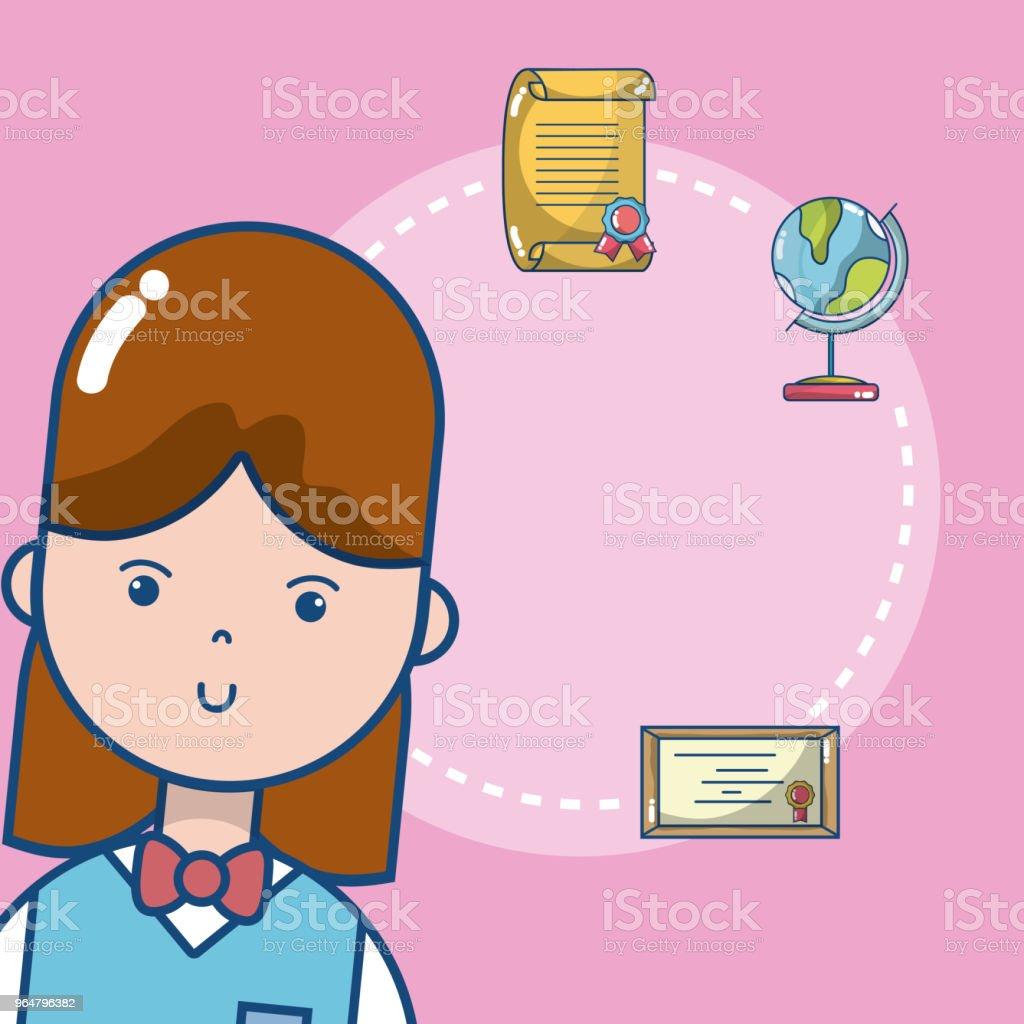 Cute school student girl royalty-free cute school student girl stock vector art & more images of art