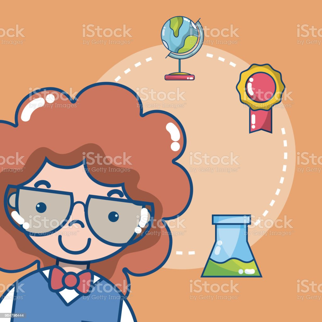 Cute school student girl royalty-free cute school student girl stock illustration - download image now