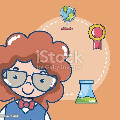 Cute School Student Girl Stock Vector Art & More Images of Art 964796444