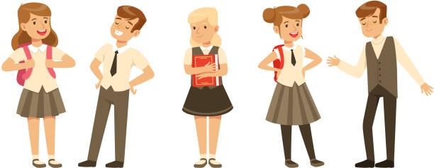 stockillustraties, clipart, cartoons en iconen met leuke schoolstudenten in uniform met rugzakken collectie, happy schoolboys en schoolgirls cartoon characters vector illustratie - schooluniform