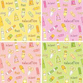 Set of 4 Cute school supplies repeating seamless kawaii patterns. Layered and groupped, high res. jpg included. Vector Eps 8, no transprency nor gradients used. Please scroll down to see my lightbox and more related images: