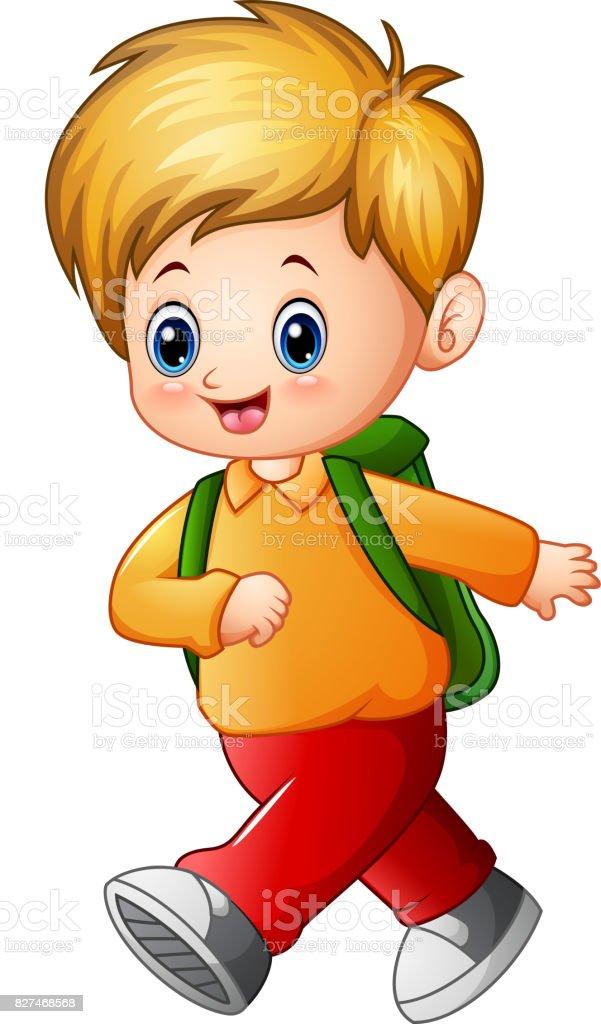 Cute schoolboy cartoon vector art illustration