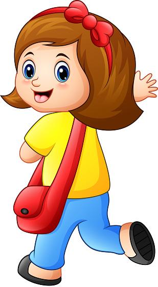 Cute schoolgirl cartoon