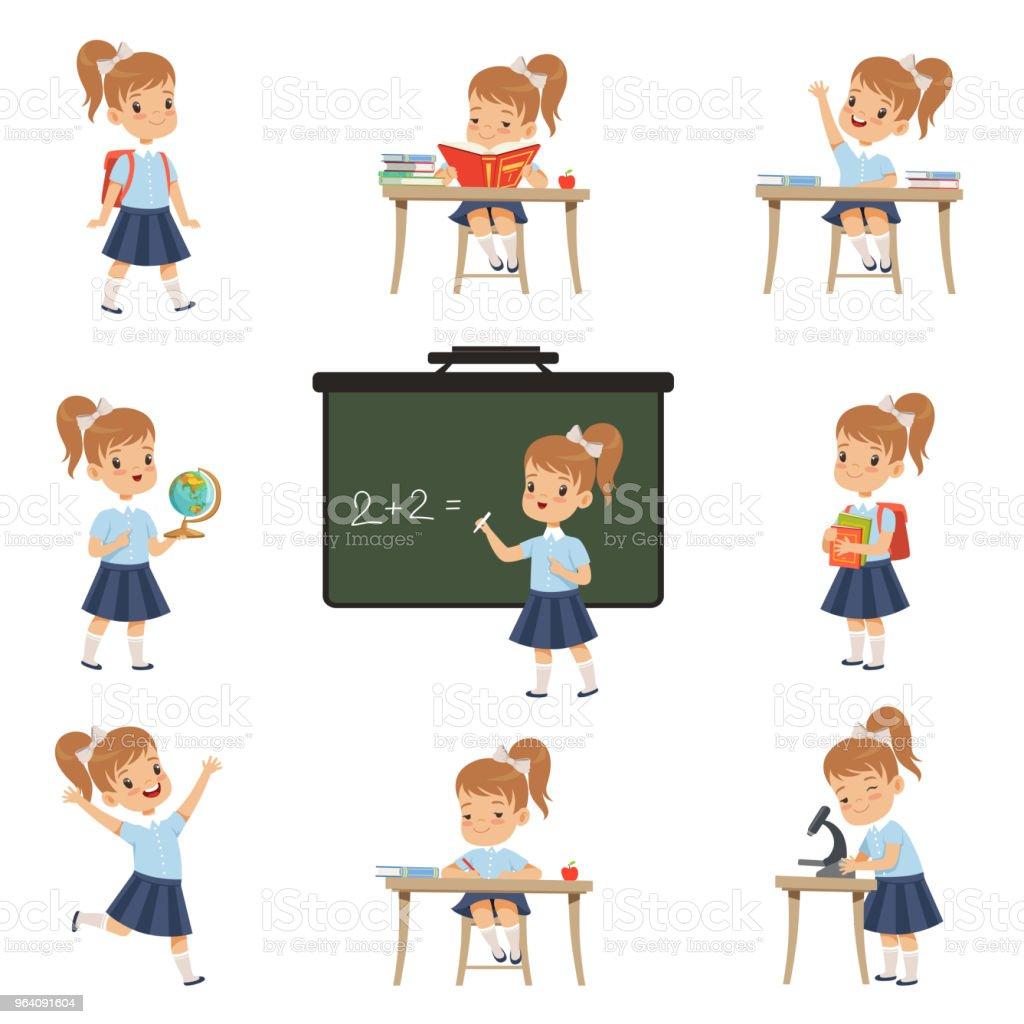様々 なアクティビティ セットの制服、生物学、地理学、数学ベクトル イラスト白い背景の上のレッスンで女の子のかわいい女子高生生 - イラストレーションのロイヤリティフリーベクトルアート