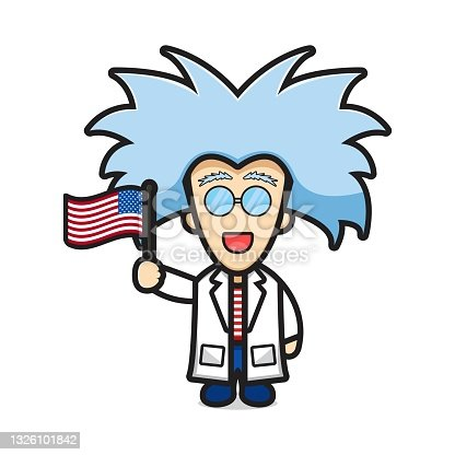 istock Cute scientist holding flag celebrate america independence day cartoon icon vector illustration 1326101842