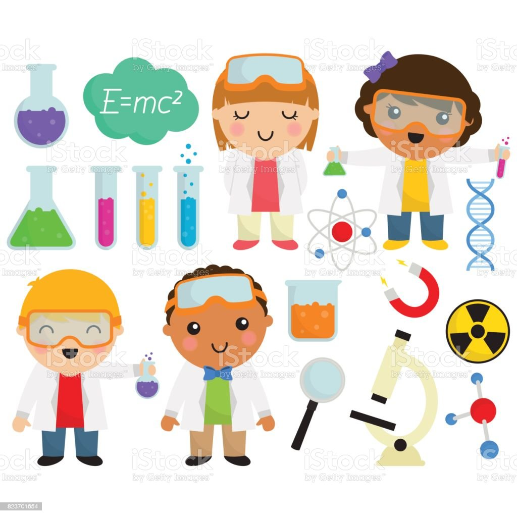 Cute Scientists and Things vector art illustration