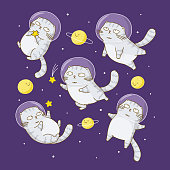 Cute scottishfold cats astronauts in space
