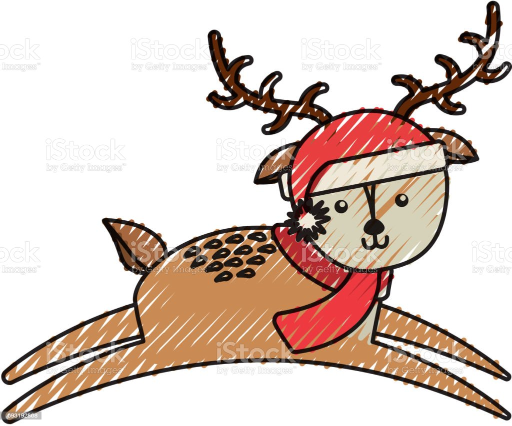 Cute Scribble Christmas Deer Cartoon Stock Illustration