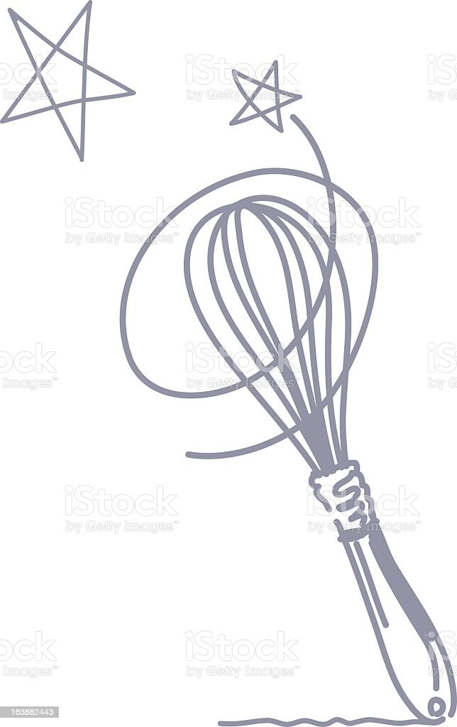 Cute Scribbly Whisk Icon with Swirls and Two Stars vector art illustration