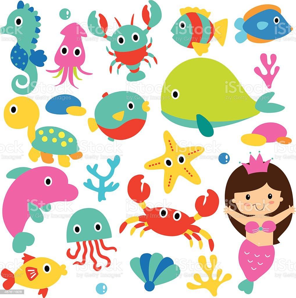 cute sea animals clip art set vector art illustration