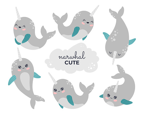 Cute sea animals stickers collection, baby whale set
