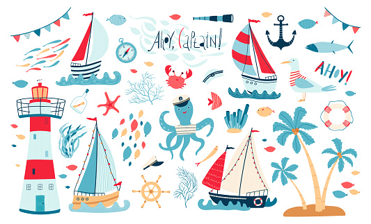 Cute sea collection with sailboat, lighthouse, fish, octopus, Seagull, crab isolated on white background. A set of illustrations for the design of children's rooms and textiles. Vector