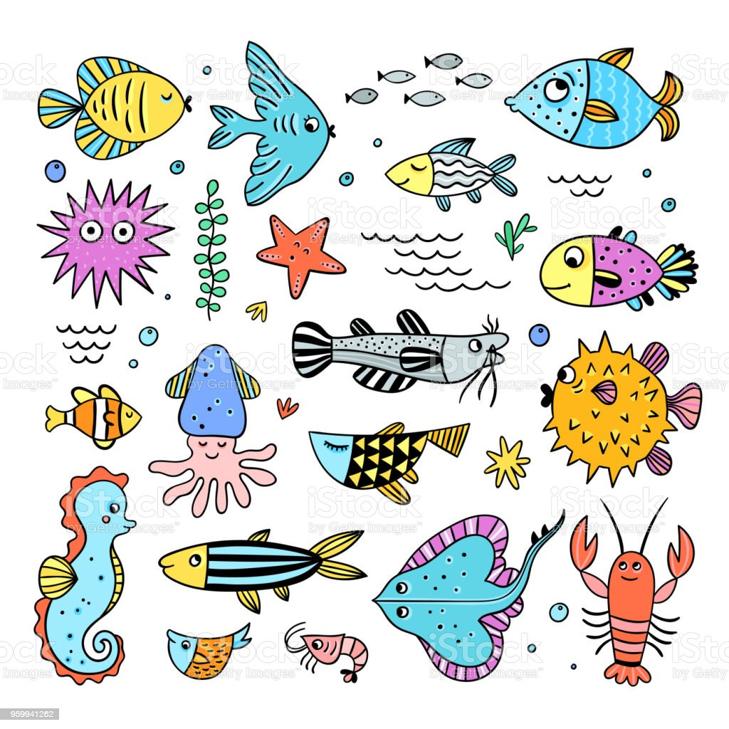 Cute sea creatures set. Fishes and sea animals underwater life...