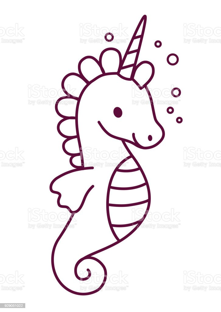 Cute Sea Horse Unicorn Simple Cartoon Coloring Page Vector Illustration Flat Line Doodle