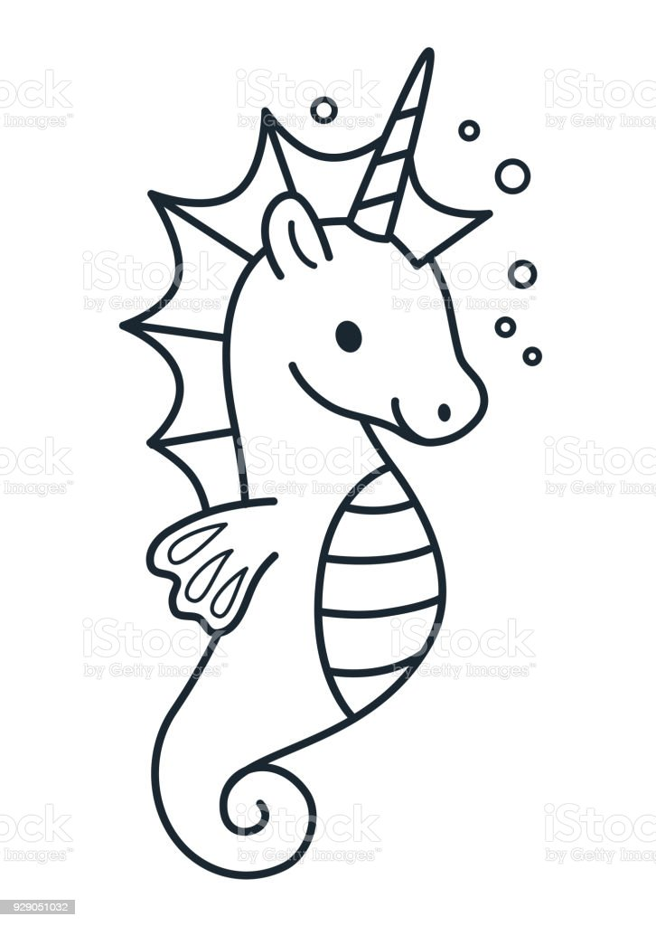 Cute Sea Horse Unicorn Simple Cartoon Coloring Page Vector
