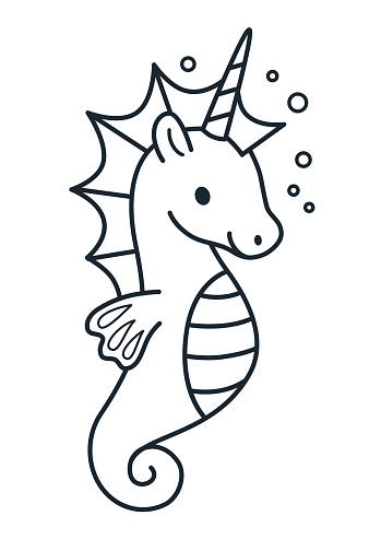 Kleurplaten Zeepaard.Schattig Zeepaard Unicorn Eenvoudige Tekenfilm Kleurplaten