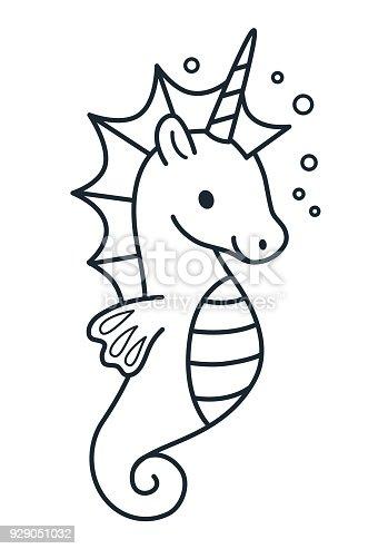 Sevimli Deniz Atı Tek Boynuzlu At Basit Karikatür Sayfa Vektör çizim