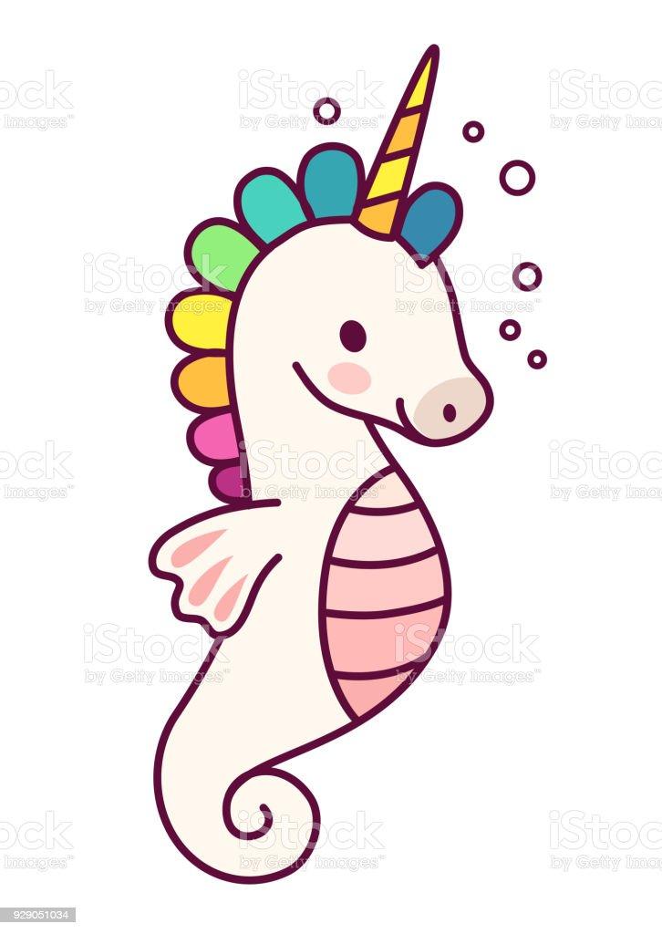 Cute Sea Horse Unicorn With Rainbow Mane Simple Cartoon ...