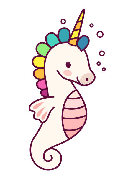 Cute sea horse unicorn with rainbow mane simple cartoon vector illustration. Simple flat line doodle icon contemporary style design element isolated on white. Magical creatures, fantasy, fairy, dreams theme. Cute sea horse unicorn with purple mane simple cartoon vector illustration. Simple flat line doodle icon contemporary style design element isolated on white. Magical creatures, fantasy, fairy, dreams theme. sea horse stock illustrations