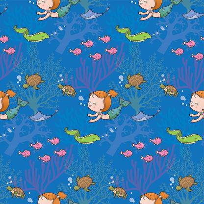 Cute sea mermaid pattern blue
