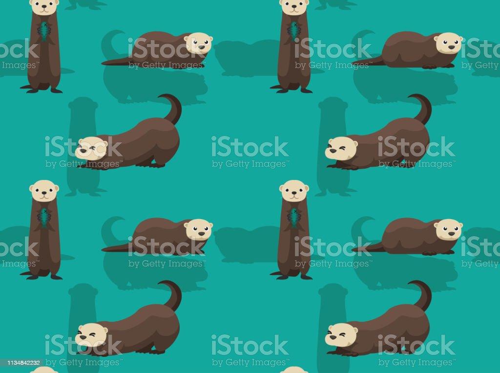 Cute Sea Otter Cartoon Background Seamless Wallpaper royalty-free cute sea otter cartoon background seamless