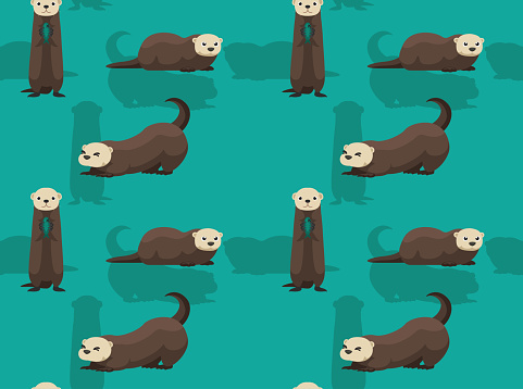 Cute Sea Otter Cartoon Background Seamless Wallpaper Stock
