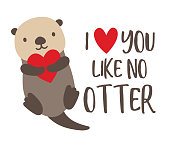 Vector illustration of cute sea otter floating in the water and holding a heart.