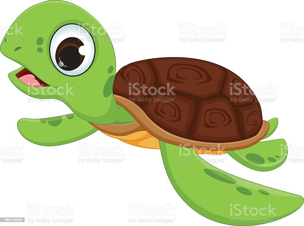Cute Sea Turtle Cartoon Stock Illustration Download Image Now