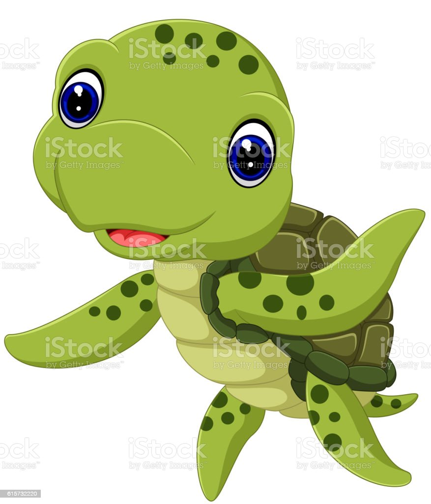 Cute Sea Turtle Cartoon Stock Illustration Download Image Now