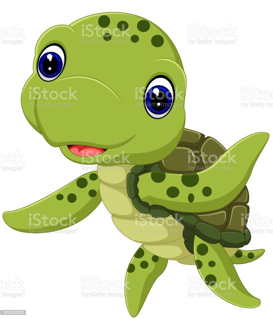 Cute sea turtle cartoon vector art illustration