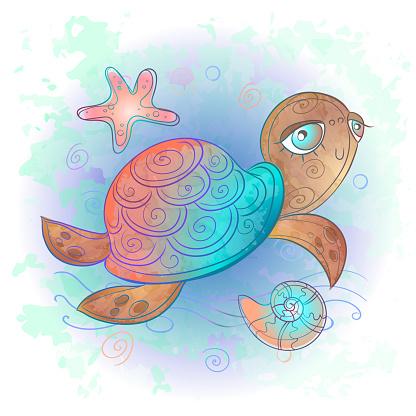 Cute sea turtle. Sea world. Watercolor. Vector.